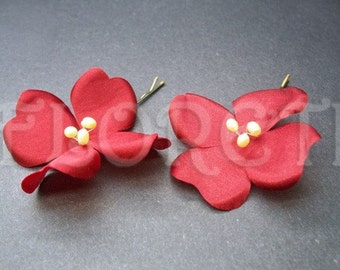 Deep Apple Red Mini Dogwood Bridal Hair Pins w Pearls, Set of 2 -Ready Made