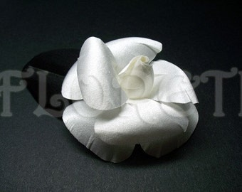 Couture Pure White Dress Pin Camellia Silk Flower Bridal or First Communion Accessory
