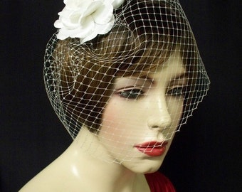 Birdcage Wedding Veil Ivory French Blusher 9in -Ready Made
