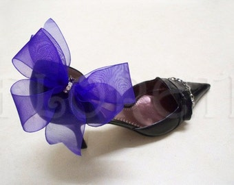Something Blue Bridal Shoe Clips Organdy Bow Sheer Accessories w/Crystals