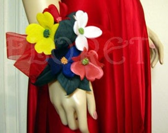 Spring Dogwood Couture Prom Wrist Corsage Silk Flower Hair Accessory Red White Pink Yellow Purple Green