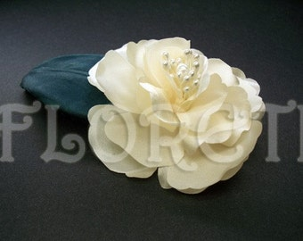 Light Champagne Ivory Magnolia Bridal Hair Accessory Pin-up Flower Abstract-Impressionist LaLuna