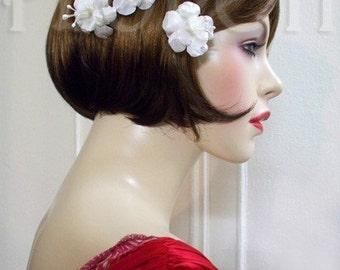 Bridal Hair Flowers Antique White Silk Pearl Maria Mirabella Bobby Hair Pins, Set of 3
