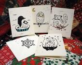 Winter Animal Linocut Cards (set of FOUR)