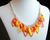 Orange Drop Charm Necklace -  Orange Citrus Cluster  - Summer  Sale
