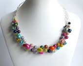 Colorful Beaded Necklace, Wire Crochet Necklace, Miracle Beads, Multi Color