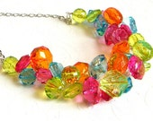 Colorful Chunky Necklace, Chunky Beaded Necklace, Wire Crochet Necklace, Crystal ACRYLIC,  Bridesmaid Necklace, Statement Necklace