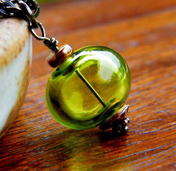 Green Glass Necklace, Hollow Drop Pendant  -Apple Green