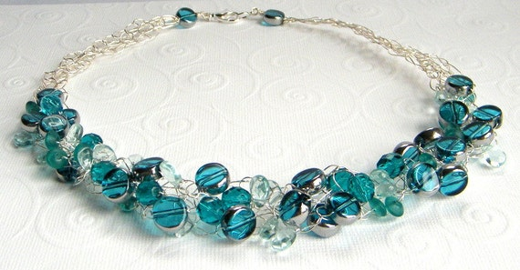 Teal Blue Beaded Necklace - Wire Crochet Necklace - Teal Necklace - Glass Beaded Necklace - Czech Glass