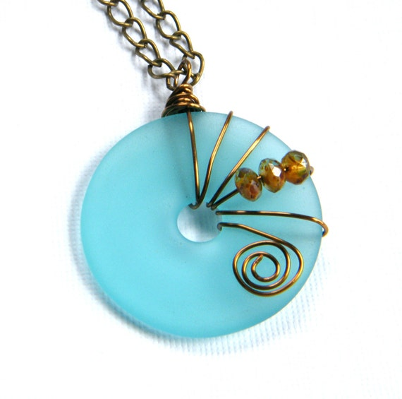Blue Sea Glass Pendant, Frosted Blue Pendant, Beach Glass Necklace, Beach Wedding, Large