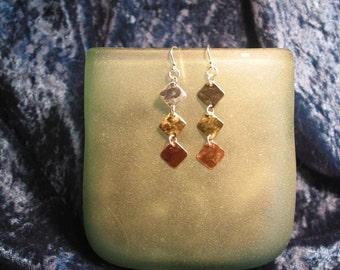 Silver, copper and brass squares drop from little silver earwires