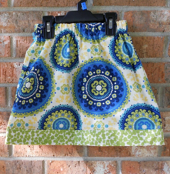 SALE Bohemian and Green Floral Retro Girl's Skirt Size 6 Ready to Ship