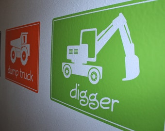 Big Construction Machines- SMALL SIZE- Vinyl Wall Decals