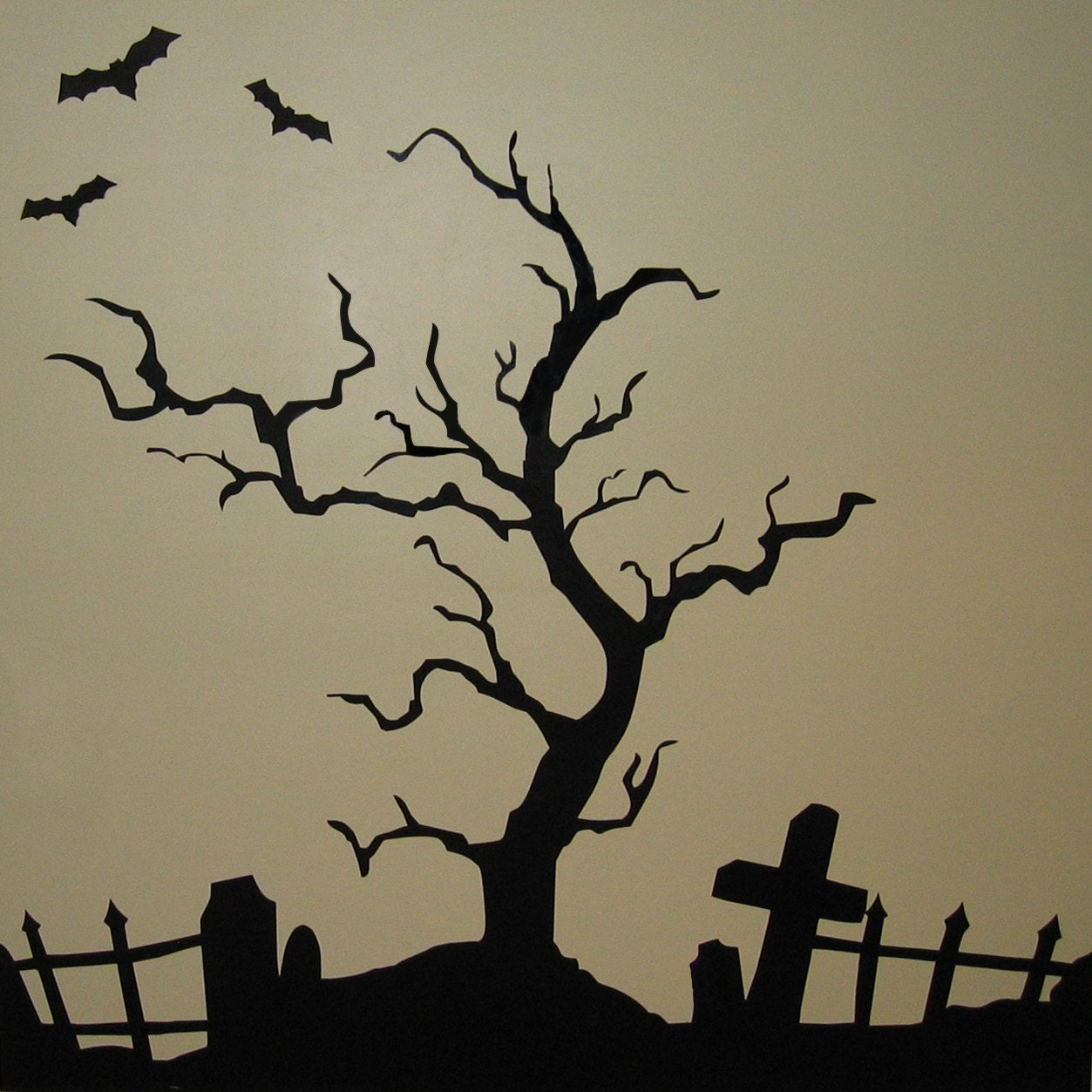 creepy halloween tree vinyl wall art by vineyardvinyl on etsy