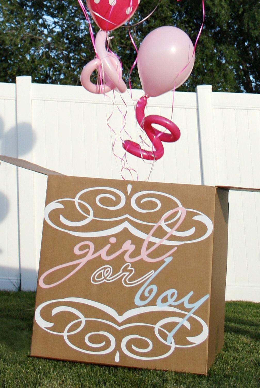 Color Powder Gender Reveal >> Gender Reveal Party Balloon Box Vinyl Decal Decor