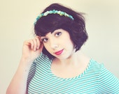 SPRING CLEANING SALE - Little Rosette Headband - Teal