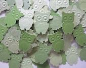 50 pc  Paper Green  Owls        Baby Shower    Birthday    Confetti