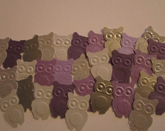 50 pc Purples and Greys/Silvers Paper Owls  Confetti   Table Decorations    Reception