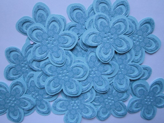 20 pc  Teal Paper  Double Flowers  Table Decorations for a Wedding, Baby Shower, Birthday