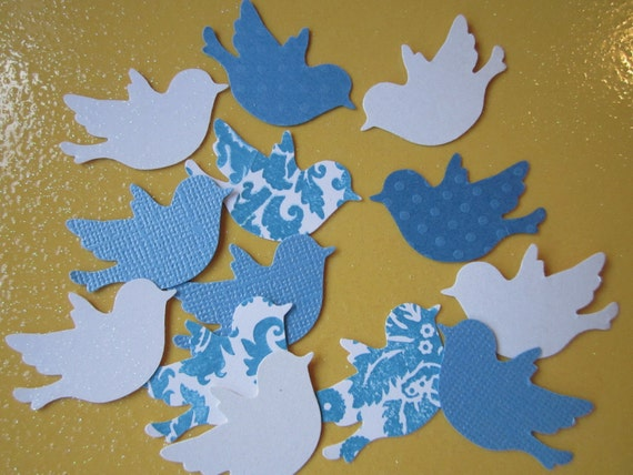 FREE SHIPPING to the U.S.  175 pc Blue and White Paper Birds   Wedding  confetti   Reception  Table Decorations  Baby Shower  Decorations
