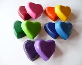 Lovely Heart Crayons Upcycled / Recycled (set of 10)