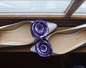 Purple and Lilac Satin Flower Rosette Shoe Clips - Memphis - Christmas Gift - Wedding Accessorie