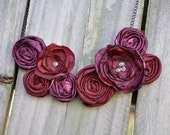 Maroon Flower Rosette Statement Bib Necklace with Swarovski Crystal Centers - Made with Silk and Satin Vintage Fabrics
