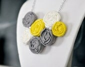 Yellow Gray and White Small Rosette Flower Bib Necklace with Long Adjustable Silver Chain and Pearl Details