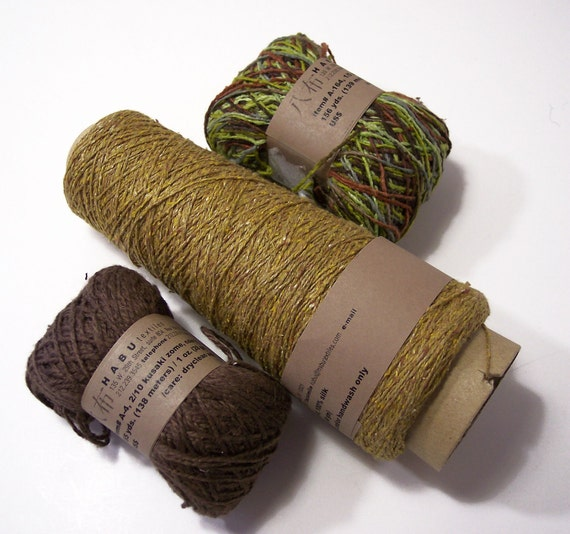 Habu Silk Yarn in Coordinating Colors, Mustard, Mocha, Moss Green Lot of 3