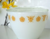 Vintage Pyrex Butterfly Gold Covered Sugar Bowl