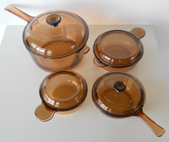 On Sale Vintage Visions Amber Glass Cookware By Bluehousevintage