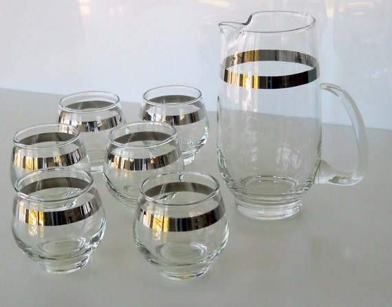 SALE - - - - -Vintage Libbey Silver Band Cocktail Pitcher and Tumblers