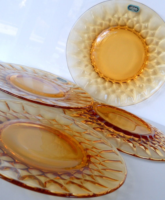 Vintage Amber Noritake Perspective Luncheon Plates, Set of Four