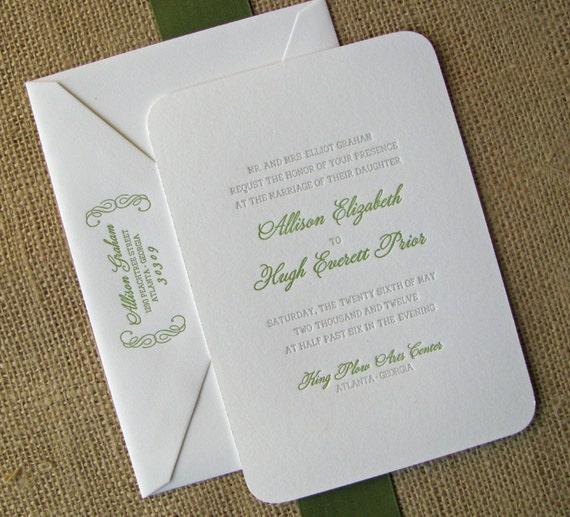 RESERVED for Jemma:  bello letterpress wedding invitation deposit