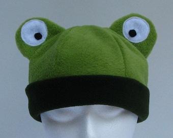 Fleece Frog Hat - Light and Dark Green Mens Womens Hat by Ningen Headwear
