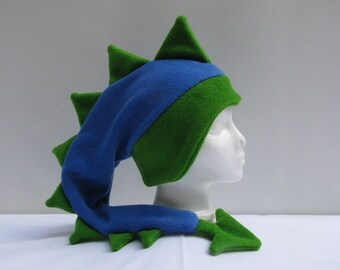 Fleece Dragon Hat - Royal Blue / Lime Green Dinosaur Animal by Ningen Headwear