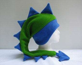 Fleece Dragon Hat - Lime Green / Royal Blue Mens Womens Spiked Dinosaur Hat