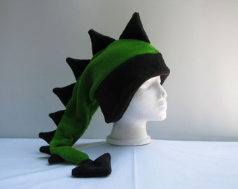 Fleece Dragon Hat - Lime Green / Black Dinosaur Mens Childrens Womens Hat by Ningen Headwear