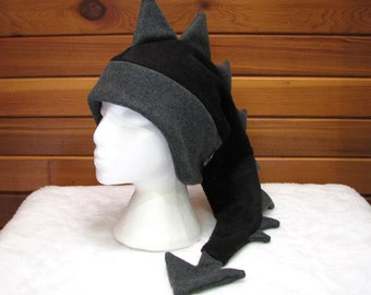 Fleece Hat Dragon - Black / Grey Animal Fleece Hat Mens Dinosaur Hat by Ningen Headwear