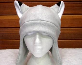 Silver Fox Ear Hat - Light Gray Fleece Animal Hat with Ear Flaps by Ningen Headwear