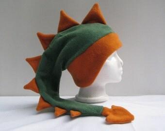 Green Dinosaur Hat -  Orange Spike Dragon Fleece Hat by Ningen Headwear