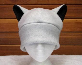 Silver Wolf Ear Hat - Light Gray Fleece Animal Hat by Ningen Headwear