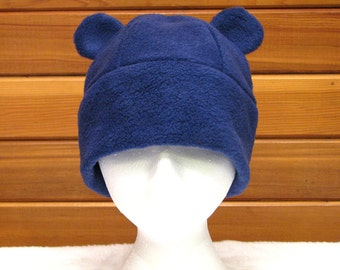 Blue Gummy Bear Hat - Mens Womens Fleece Animal Ear Dark Blue Bear Hat