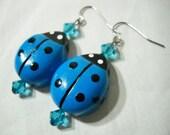 Blue Wood and Crystal Ladybug Earrings