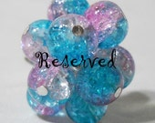 RESERVED for binru - Aqua and Pink Crackle Beaded Adjustable Ring