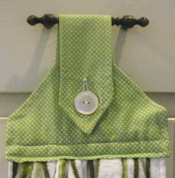 Green Polka Dot and Striped Hanging Kitchen Towel