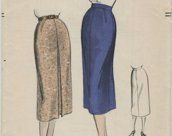 1950s Vogue Tailored Pencil Skirt Sewing Pattern 8289, Waist 24 Hip 33 Uncut, Straight Skirt, Wiggle Skirt, Inverted Pleat