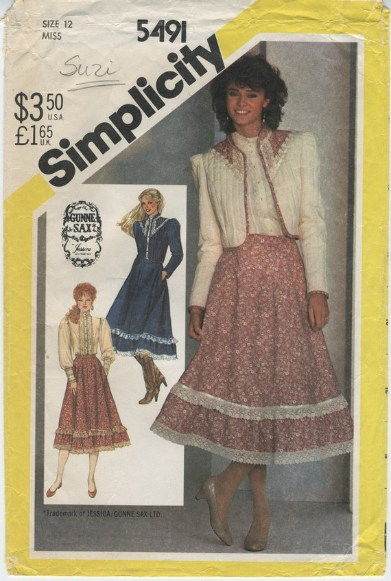Vintage 1980s Simplicity Gunne Sax Skirt, Blouse, and Quilted Jacket Pattern 5491 Size 12 Bust 34