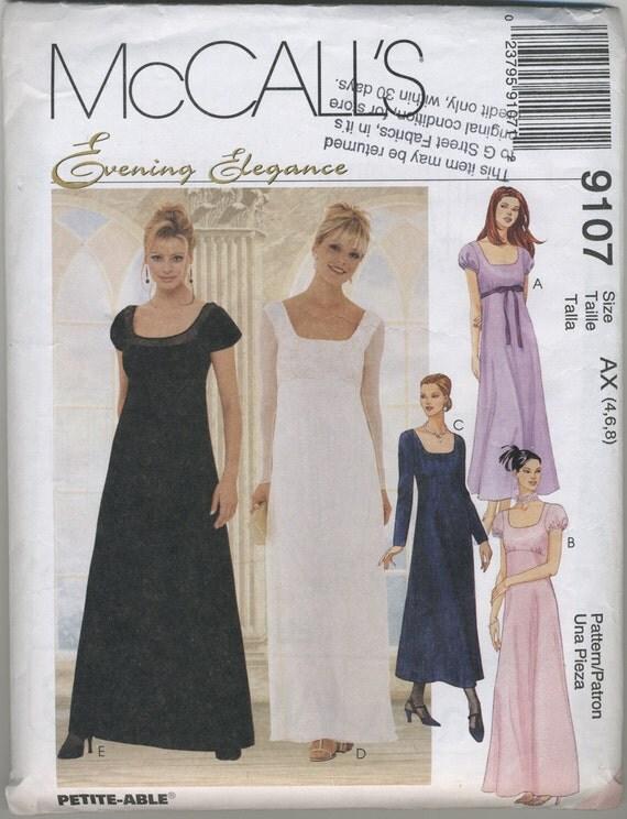 Mccalls Empire Waist Gown Dress Sewing Pattern 9107 Size 4 6 8