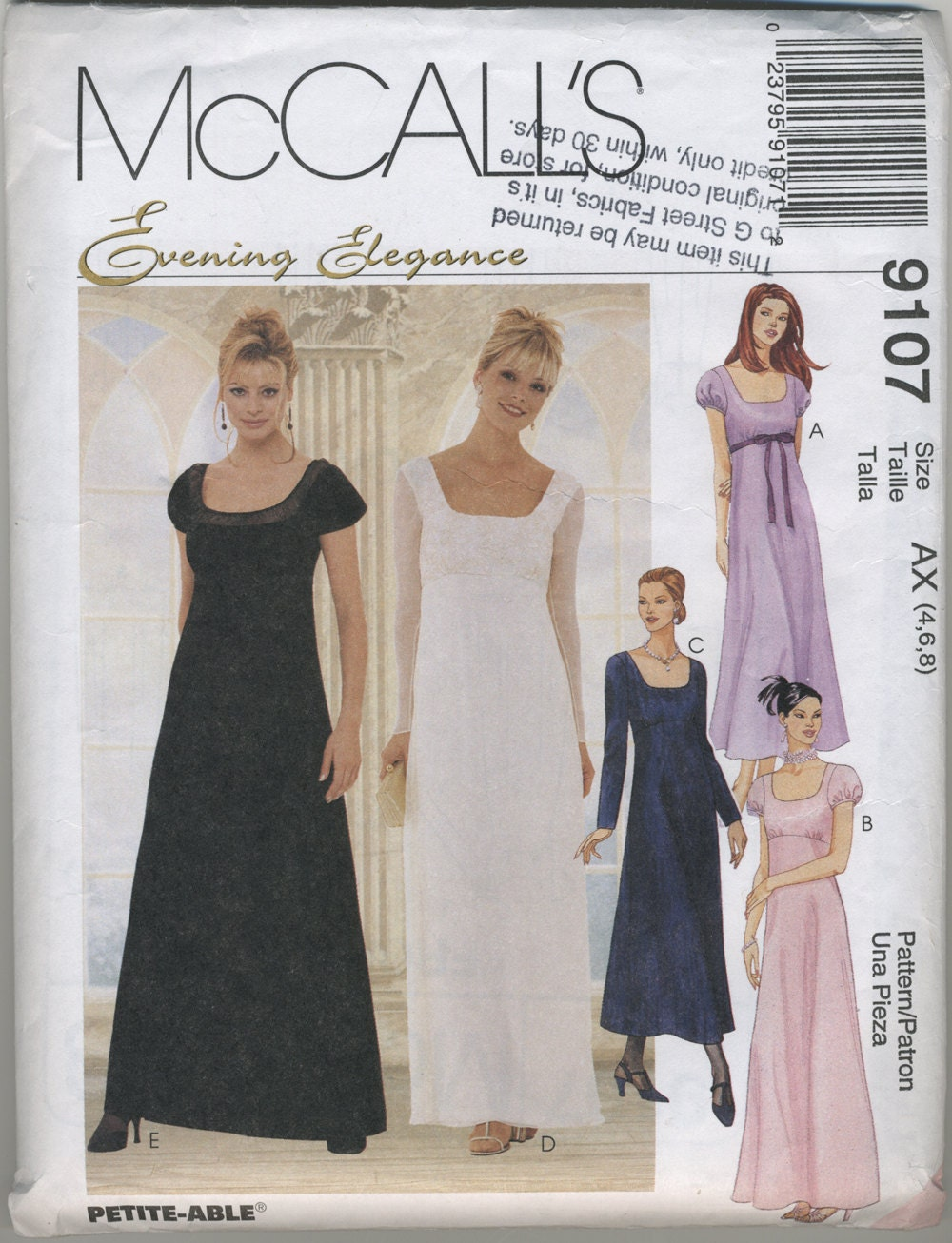 Wedding Dress Patterns Empire Line : Mccalls empire waist gown dress sewing pattern size